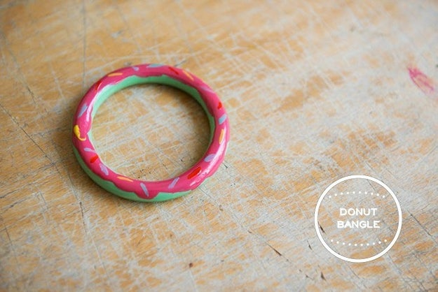 Paint an old bangle with nail polish to create a piece of jewelry worth drooling over.
