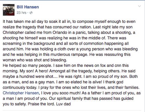 """I am so proud of my son. Both as a man, and as a gay man,"" Hansen's father, Bill, wrote on Facebook."