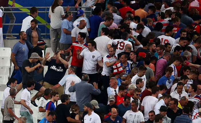 Fans clash after the Euro 2016 Group B match between England and Russia at Stade Velodrome, Marseille, on June 11.