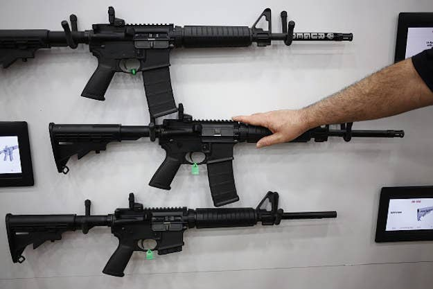 AR-15 rifles displayed at the National Rifle Association (NRA) annual meeting in Louisville, Kentucky, U.S., in May 2016.