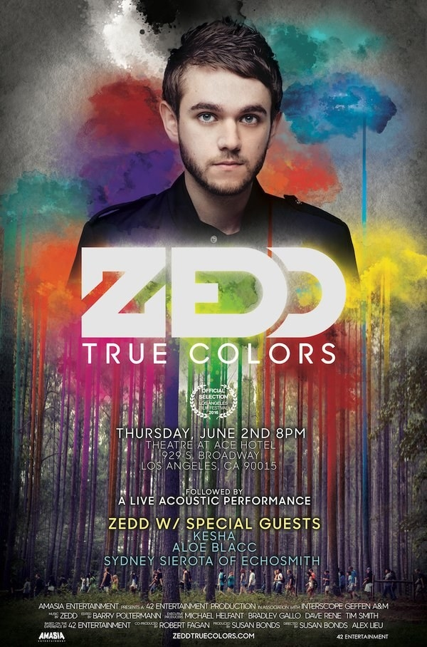 True Colors follows Zedd's life, with interviews from his friends and family, and also gives viewers an inside look into the listening parties for his latest album.