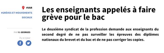 Si vous êtes bachelier-e ou parent de bachelier-e, il y a des chances pour que vous ayez vu ces gros titres, qui indiquent un préavis de grève pour les surveillants du bac, posé par le SNALC, un syndicat enseignant minoritaire.