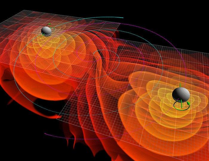 Simulation of merging black holes radiating gravitational waves.