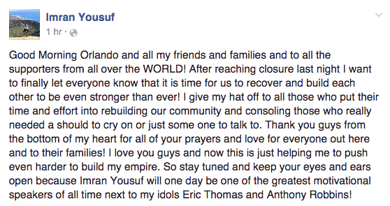 """""""I give my hat off to all those who put their time and effort into rebuilding our community and consoling those who really needed a should [sic] to cry on or just some one [sic] to talk to. Thank you guys from the bottom of my heart for all of your prayers and love for everyone out here and to their families!""""BuzzFeed News did not hear back from Yousuf, but in another Facebook post on Tuesday, he said that he would decline further media requests so that he could """"move on from this and get focused back on my goals in life."""""""