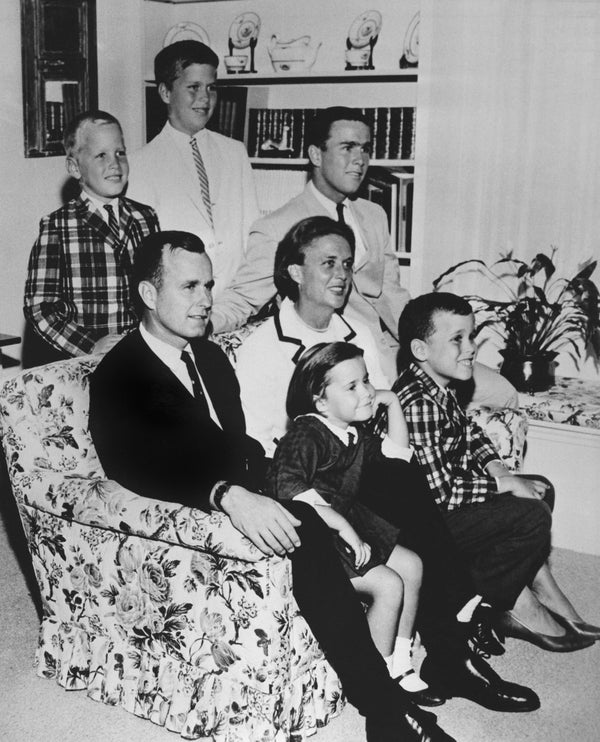 Bush with his wife, Barbara, and their children in 1964.
