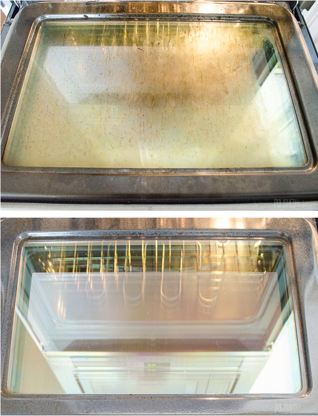 Take a melamine sponge to your oven glass to make it sparkle again.