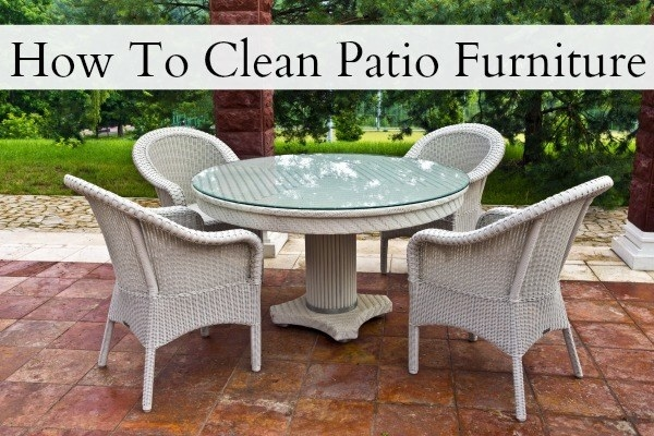 If you have patio furniture, pull it out onto your driveway (or somewhere that the runoff won't run into your grass), and give it a good scrub.