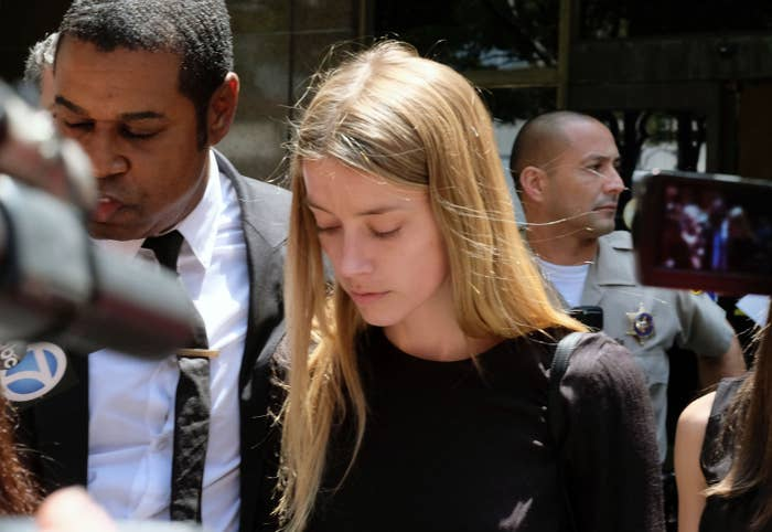 Amber Heard leaves court in May 27.
