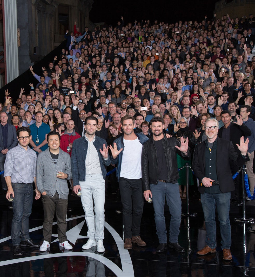 J.J. Abrams, Justin Lin, Zachary Quinto, Chris Pine, Karl Urban, and Adam Savage at the Star Trek Beyond fan event at Paramount Pictures on May 20, 2016.