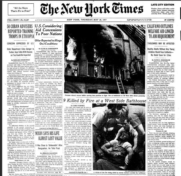 The front page of the New York Times the day after the fire.