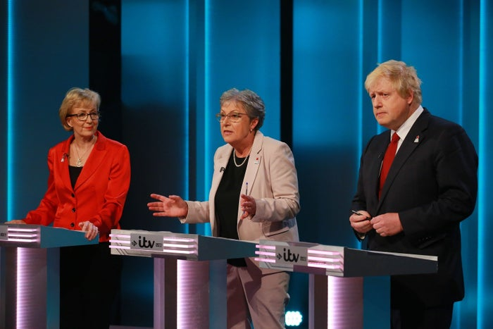 Andrea Leadsom (left) with fellow Leave campaigners Gisela Stuart and Boris Johnson during the ITV referendum debate on 9 June.