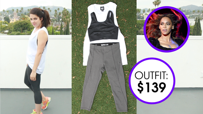Jersey Tank, $25 (Size M)V-Hem Cross Back Bra Top, $52 (Size M)'V' Mid Rise Three-Quarter Leggings, $62 (Size S)