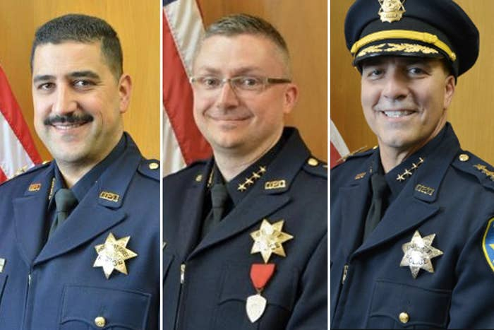 From left to right, former Interim Chief Paul Figueroa, former Police Chief Sean Whent, and former Chief Ben Fairow.