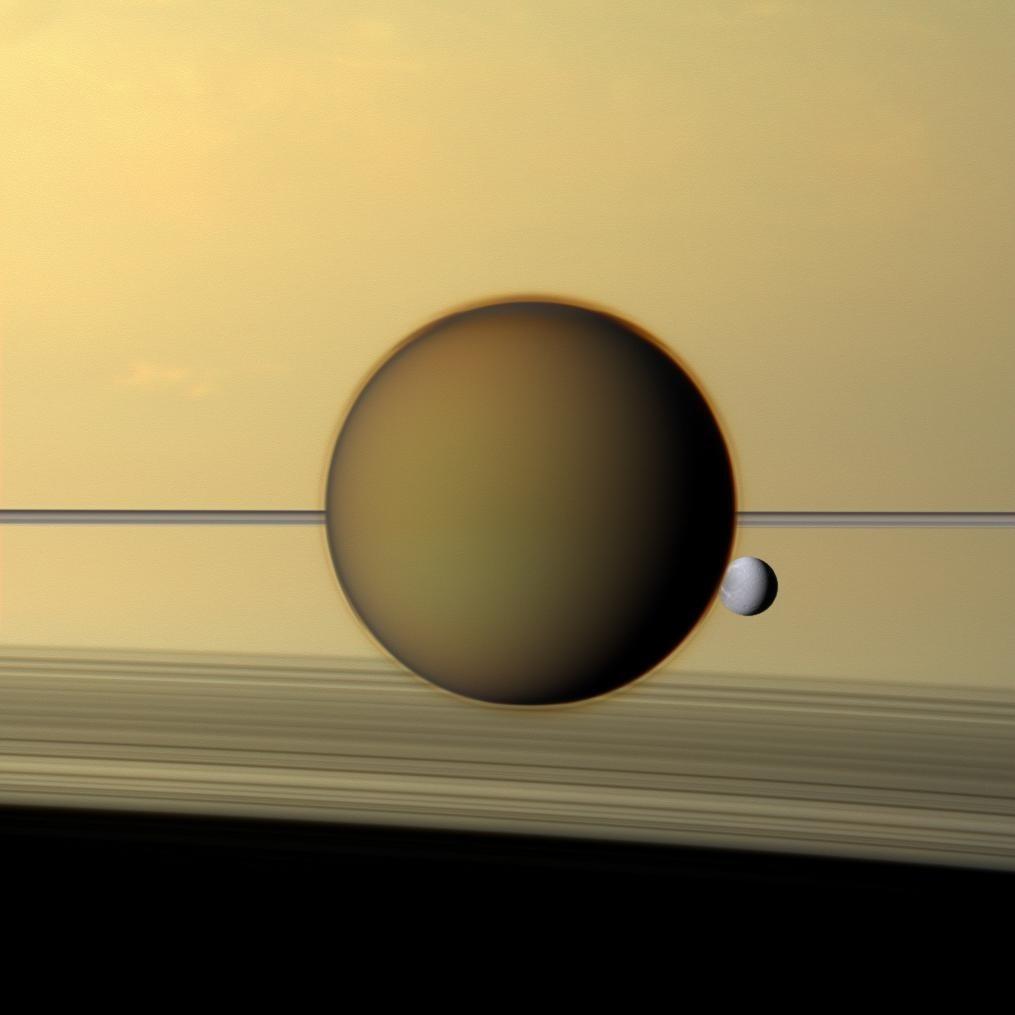 3. Saturn und zwei seiner Monde.
