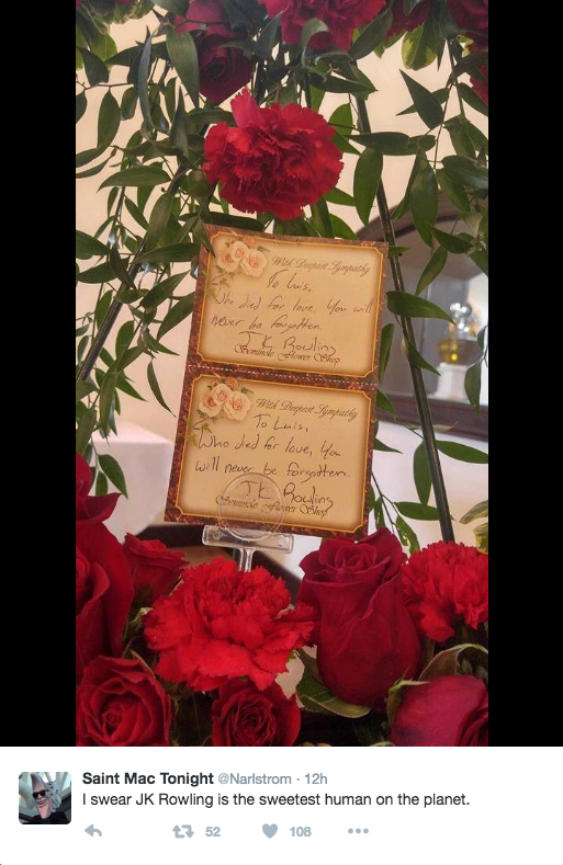 "The attached card read, ""To Luis, who died for love. You will never be forgotten. J.K. Rowling."""