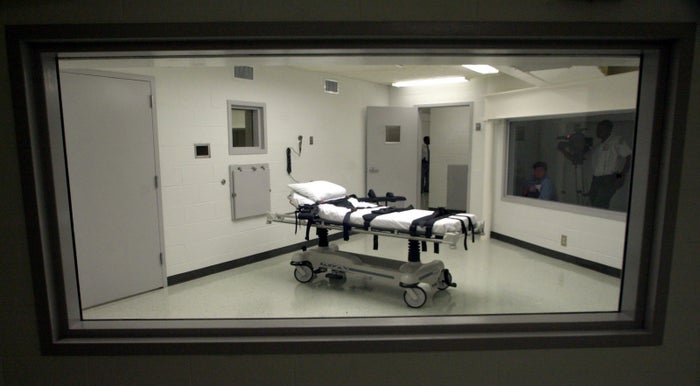 The lethal injection chamber at Holman Correctional Facility in Atmore, Alabama, in 2002.