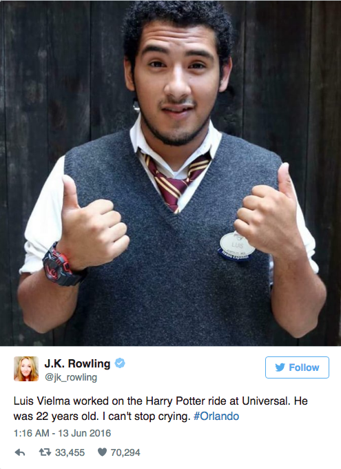 Author J.K. Rowling paid tribute to Vielma on Twitter, after learning the young man worked at The Wizarding World of Harry Potter at Universal Studios.