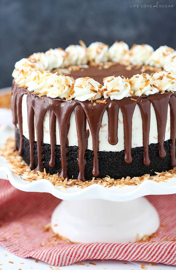This one is for all the coconut lovers out there. A chocolate cake topped with toasted coconut ice cream, chocolate ganache, and toasted coconut whipped cream! Recipe here.