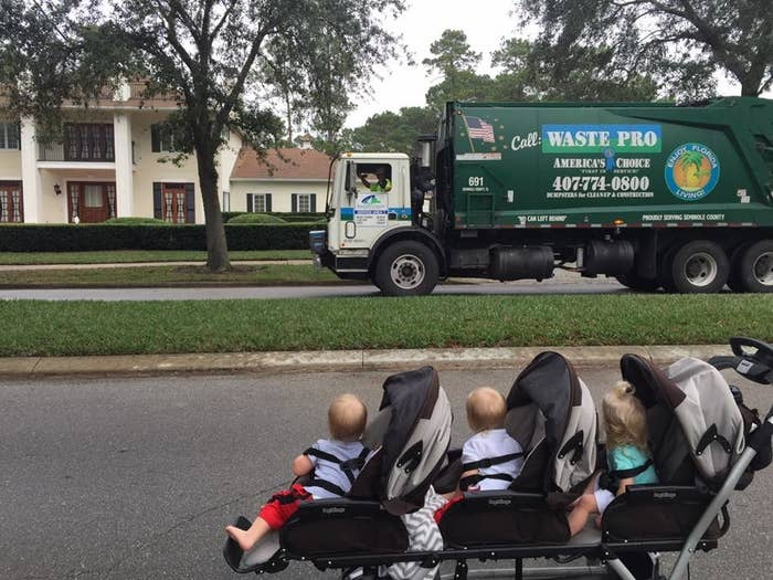 """Sugalski would walk them around their Florida neighborhood in their stroller. She would wave to Black as he drove by.""""After a couple months, the garbage truck would beep the horn and the babies would look at the truck, and then Andrew would wave and say 'Hi babies!' from the window,"""" Sugalski said. """"Eventually, he'd stop the truck, get out, take off his gloves, and say hi to the babies."""""""