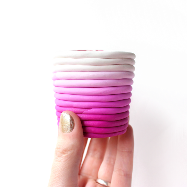 Wrap clay around votive holders to fancy them up with an ~ombré~ pattern.