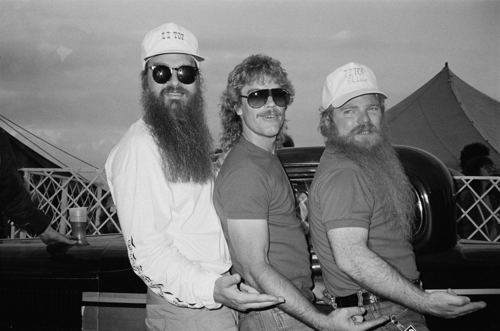 ZZ Top members Billy Gibbons, Frank Beard, and Dusty Hill in England in 1983.