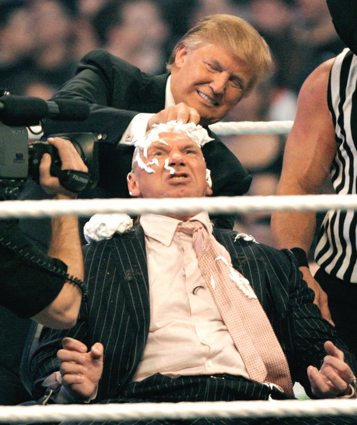 WWE chairman Vince McMahon has his head shaved by Donald Trump after losing a bet in the Battle of the Billionaires in 2007.