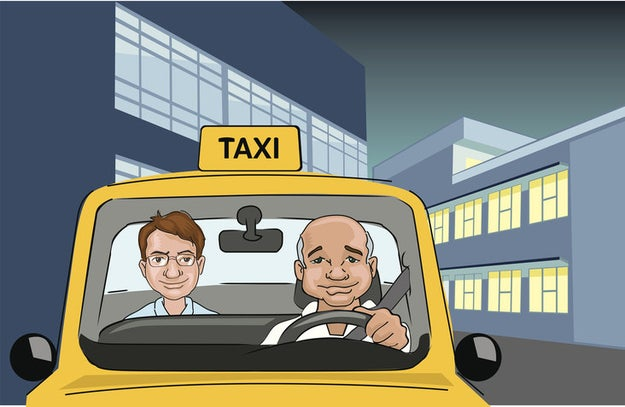 Subirte en la parte de atrás de un taxi.