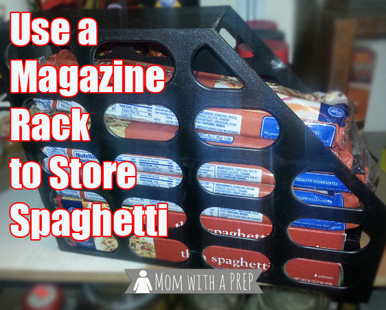 Stack your boxes and bags of spaghetti in a magazine rack so they stay in one place.