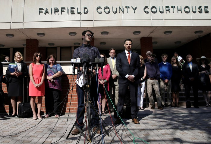 Matthew Soto, whose sister Victoria was killed at the Sandy Hook Elementary School shooting, speaks to the media outside the Fairfield County Courthouse in Bridgeport, Connecticut, U.S., June 20, 2016.