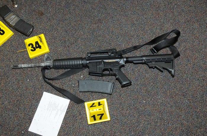 A Bushmaster Firearms AR-15 gun found at Sandy Hook Elementary School.