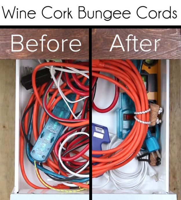 Upcycle your wine corks into bungee ties to tame cords (whether or not you store them in drawers).