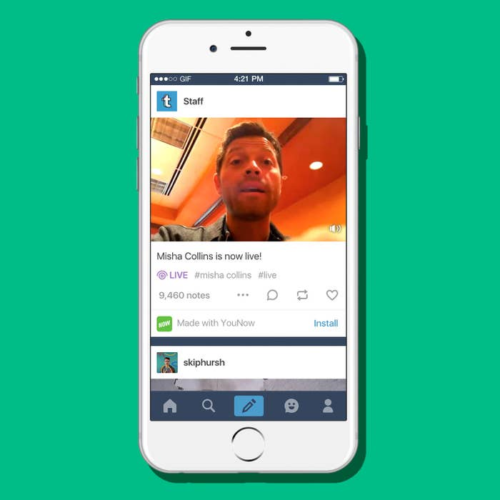 Live-streaming is huge right now — Facebook Live has created stars like the Chewbacca mask lady, with hundreds of thousands of viewers on a popular stream. Twitter has just added a feature to integrate Periscope right into the compose screen for the app. YouNow, popular with teens and YouTubers, is niche but has been blowing up over the last year. Tumblr is a little late to the live-stream party. But today it's trying to catch up.