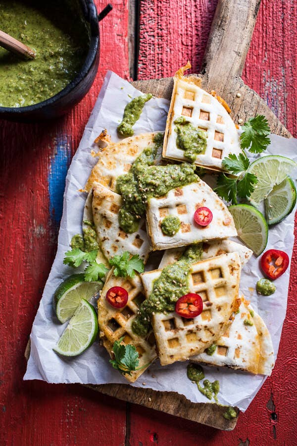 So clever to press the quesadilla in your waffle maker! Get the recipe here.