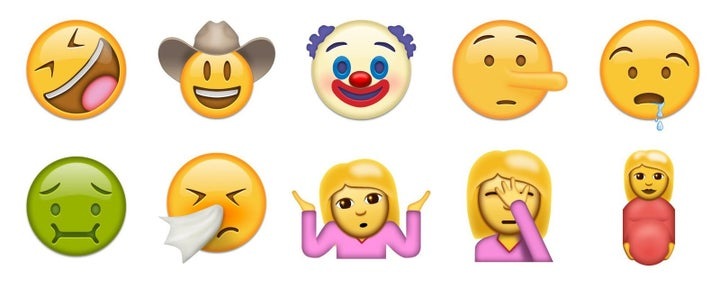 "A bunch of new people-related emojis have been added, such as the ""rolling on the floor laughing"" face, the creepy clown, and a pregnant woman."