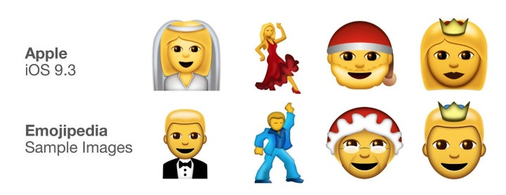 Emojis to reflect both genders have been included, like the groom to match the bride, a male dancer to match the salsa dancer, a Mrs. Claus to match Santa, and a prince to match the crowned woman.