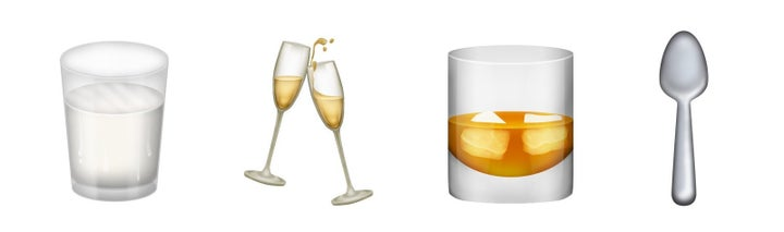 A few new drink-related were also added, including milk, clinking champagne glasses, a tumbler, and a spoon.