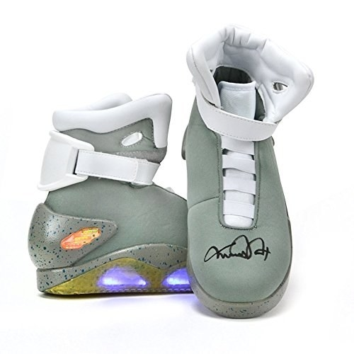 A pair of Back to the Future Air Mag shoes signed by Michael J. Fox aka Marty McFly.