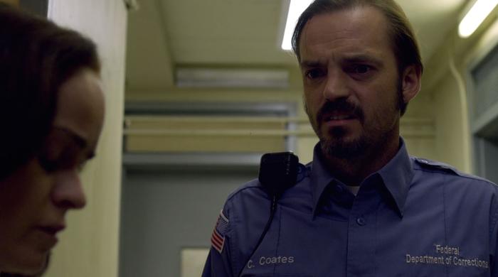 Coates (James McMenamin) hears Doggett (Taryn Manning) call him a rapist.