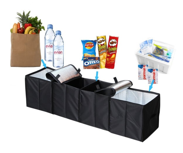 A four-compartment trunk organizer that has insulation for your groceries and also folds up into a little portable pouch.