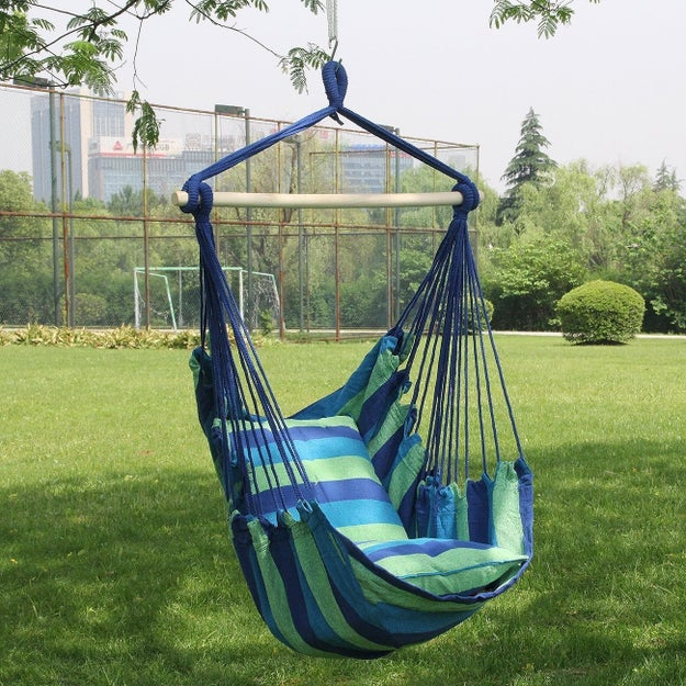 A super-comfy outdoor (or indoor) hammock chair that you will want to stay cocooned inside of forever.