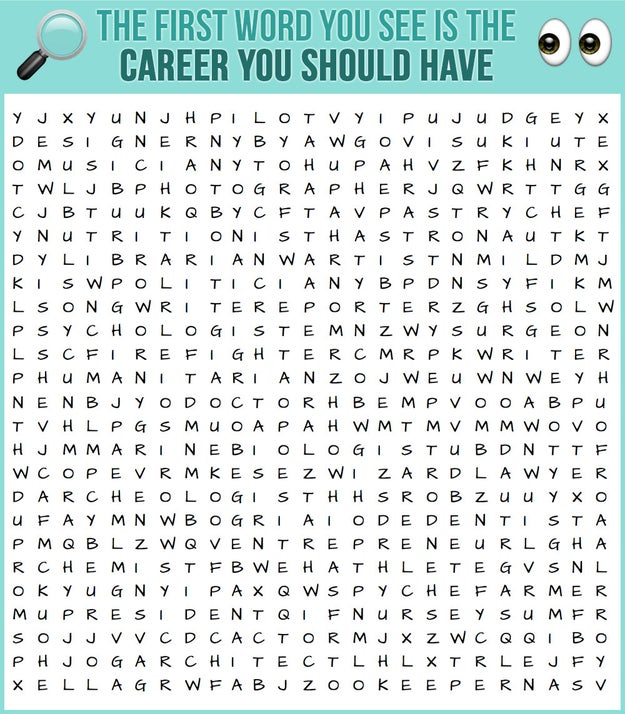 The First Word You See Is The Career You Should Have