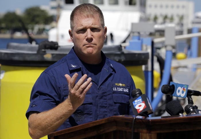 U.S. Coast Guard Capt. Gregory Case holds a news conference Wednesday on the missing family.