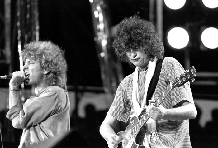 Robert Plant, left, and guitarist Jimmy Page in 1985.