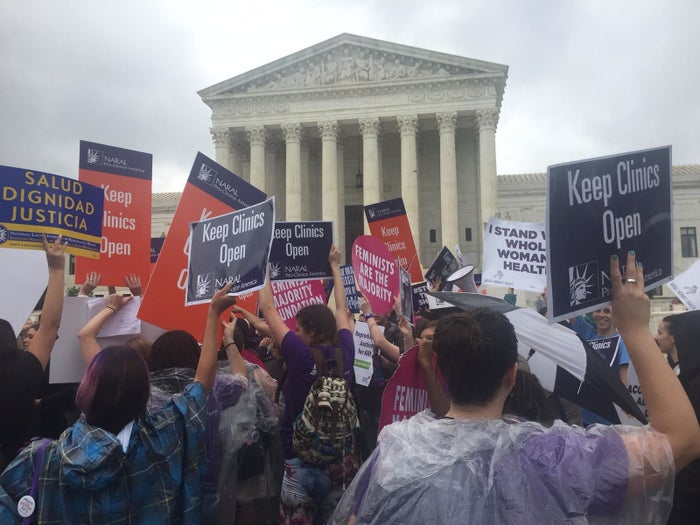 People await word of whether the Supreme Court would rule on the pending abortion provider restrictions case on June 23, 2016.