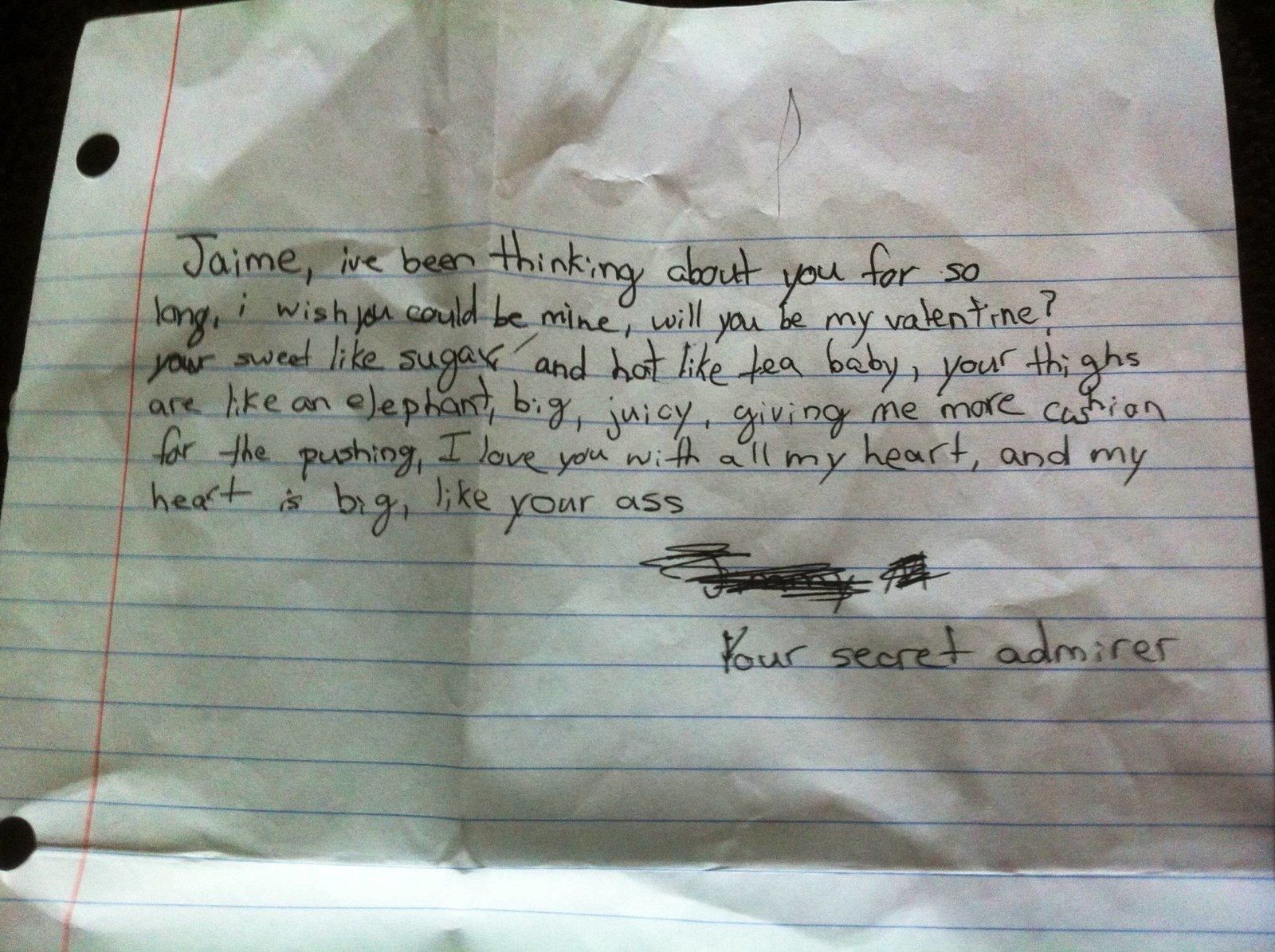 anonymous note to crush