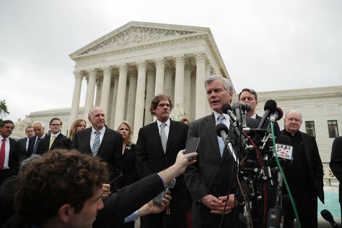 Former Virginia Governor Robert McDonnell speaks in front of the U.S. Supreme Court on April 27, 2016.