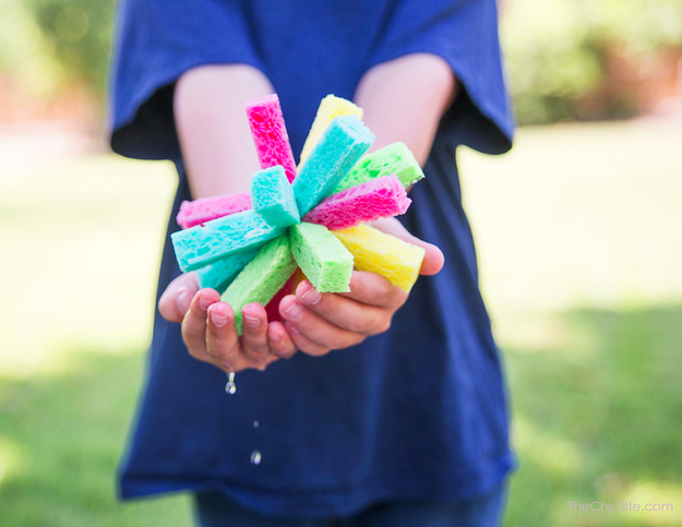 Cut up sponges from the dollar store and tie them together for fun water fights all summer long.