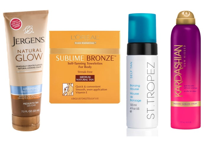 These are the tanners I decided to try out: # Jergens Natural Glow ($8.21)# L'Oreal Paris Sublime Bronze Self-Tanning Body Towelettes ($8.16)# St. Tropez Self Tan Bronzing Mousse ($27.95)# Kardashian Instant Sunless Spray ($17.10)