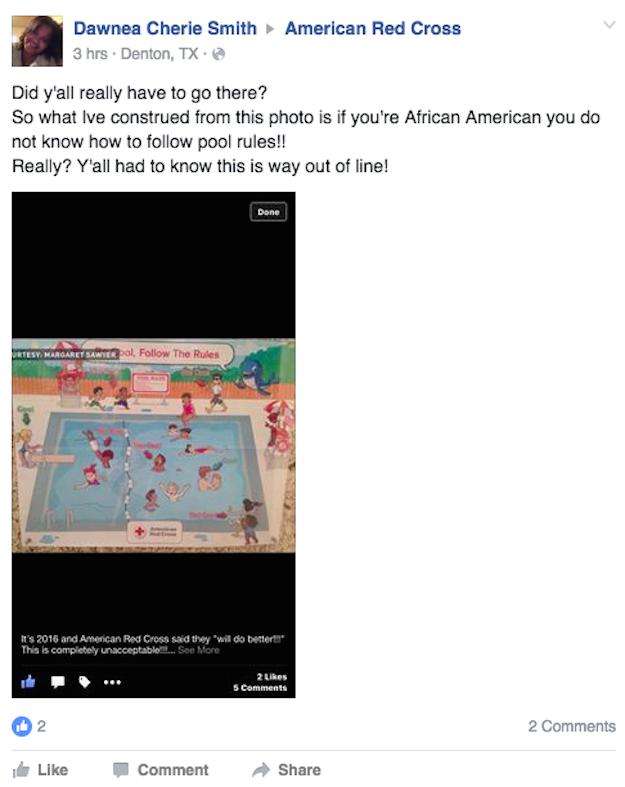 «Donc, si j'en crois cette affiche, j'en déduis que lorsqu'on est afro-américain, on ne respecte pas les règles de sécurité de la piscine», a ajouté une autre.