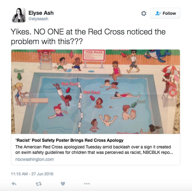 La Croix-Rouge américaine a retiré l'affiche de la production, de son site internet et de son appli «Swim App». Elle a également déclaré qu'elle était en train de conclure «un accord formel avec une organisation de défense de la diversité pour recevoir ses conseils et aller de l'avant.»